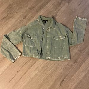 Cropped Corduroy Button Up